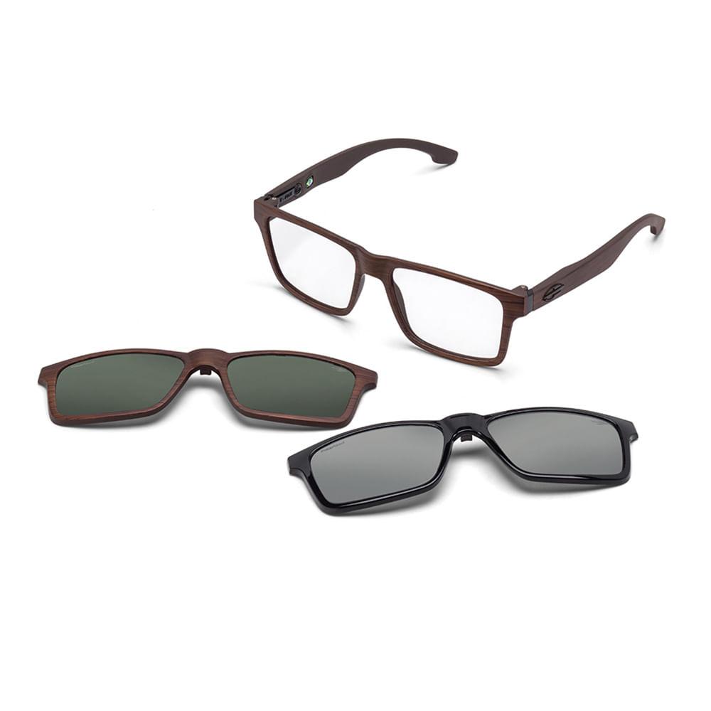 0368b7659d6d7 Óculos de grau mormaii rx swap clip on marrom madeira fosco lente polarizada