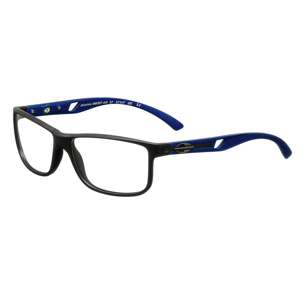 28527f7c8 Óculos de grau mormaii atlântico preto fosco com haste azul ...