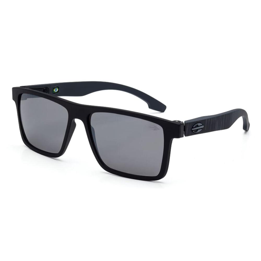 a9a806241 Óculos de sol mormaii banks preto fosco haste cinza escuro lente cinza  flash prata TU