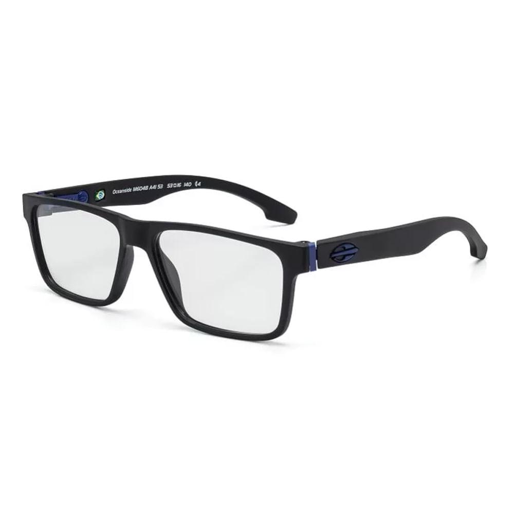 Óculos de grau mormaii oceanside preto fosco haste azul