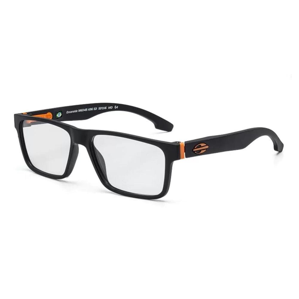 Óculos de grau mormaii oceanside preto fosco com laranja