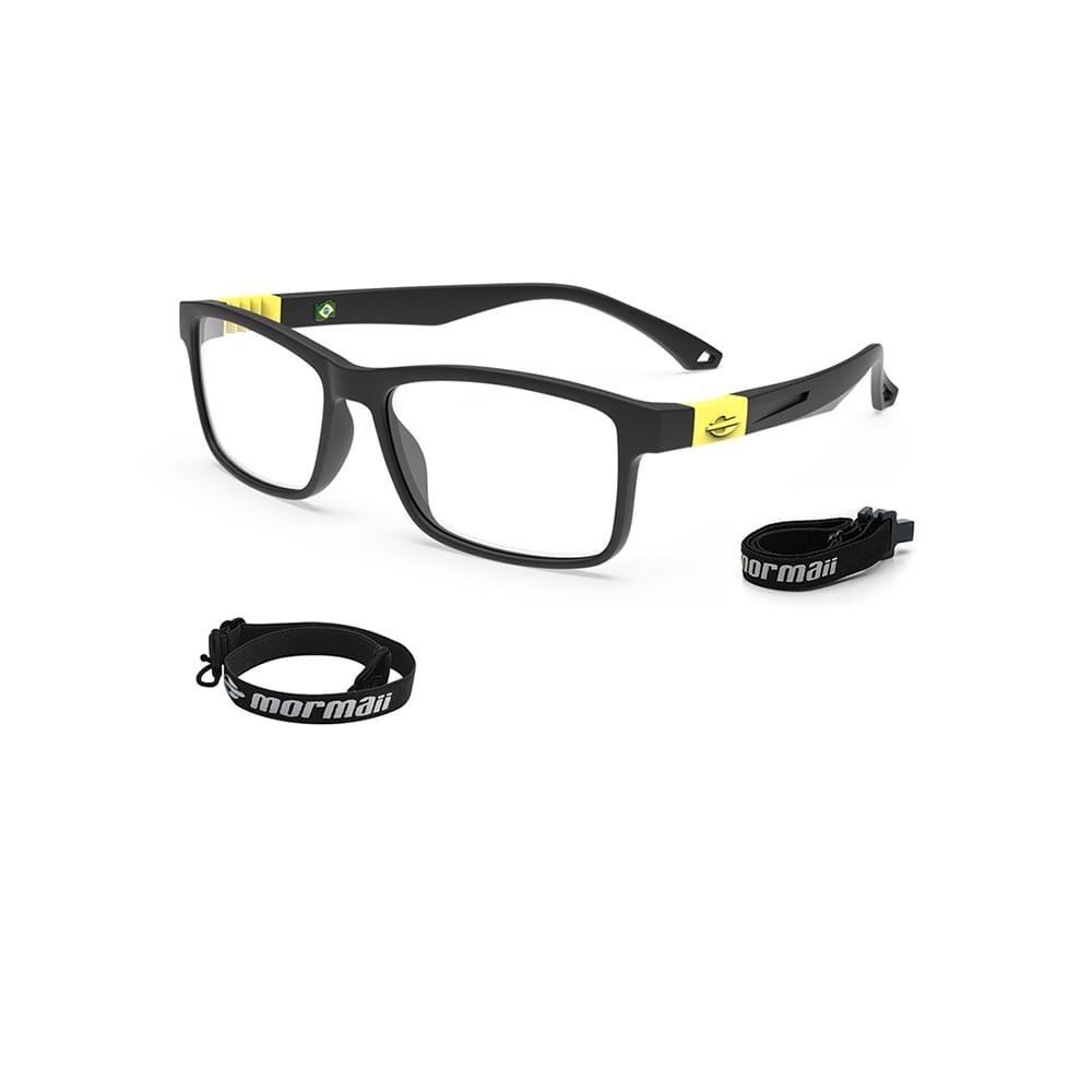 Óculos de grau mormaii rocket infantil preto fosco amarelo