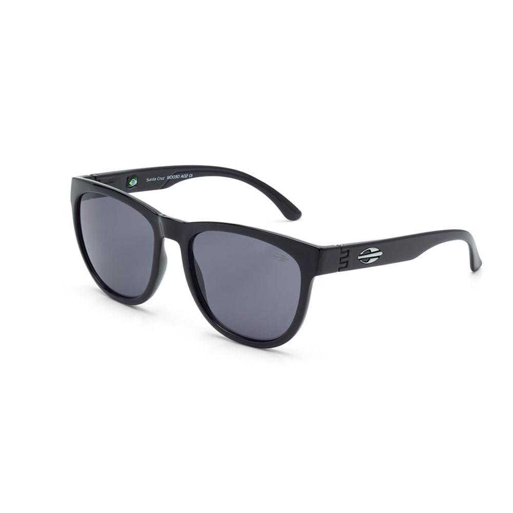 Óculos de sol mormaii santa cruz preto brilho lente cinza