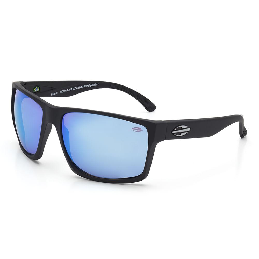 Óculos de sol mormaii carmel preto fosco lente revo azul