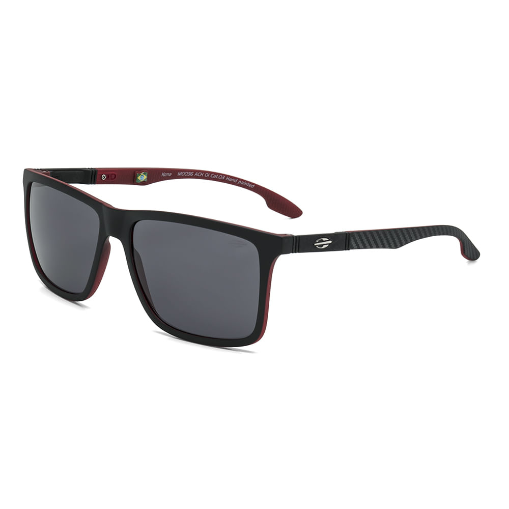 Óculos de sol mormaii kona preto parede vermelho fosco